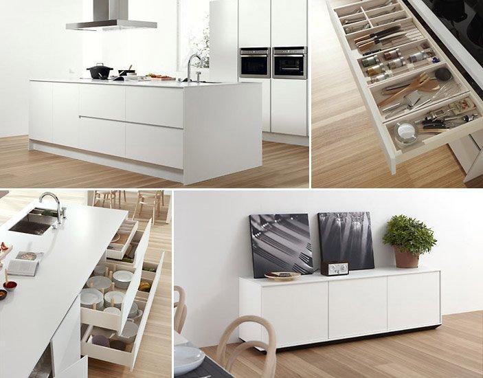 Cocina con isla central de la firma dica - Interiores de cajones de cocina ...