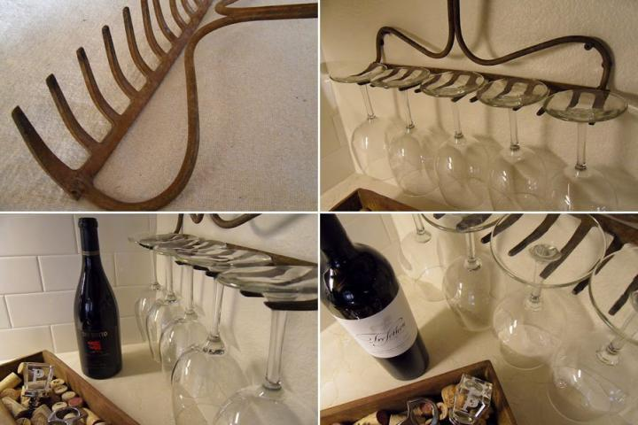 Hang cups made ​​with an old rake