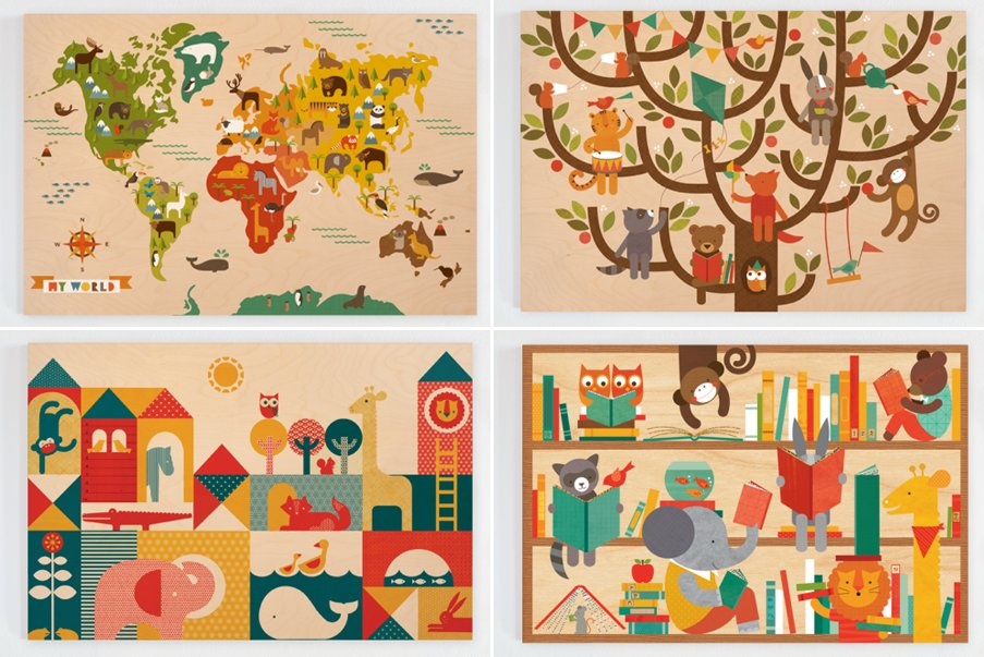 Dibujos infantiles vintage imagui - Dibujos habitaciones infantiles ...