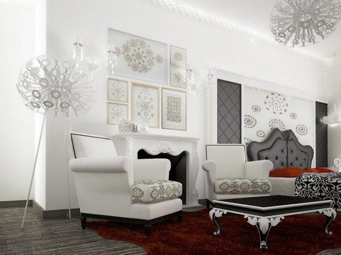 Im genes de salones de estilo barroco claves para un for Corredor deco blanco y gris