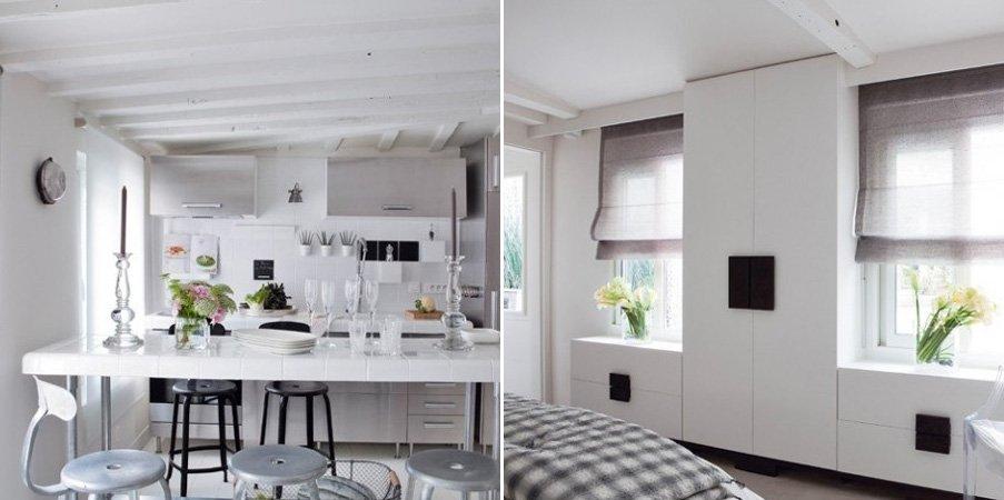 Decoraci n blanca de un peque o apartamento for Apartamento muy pequeno