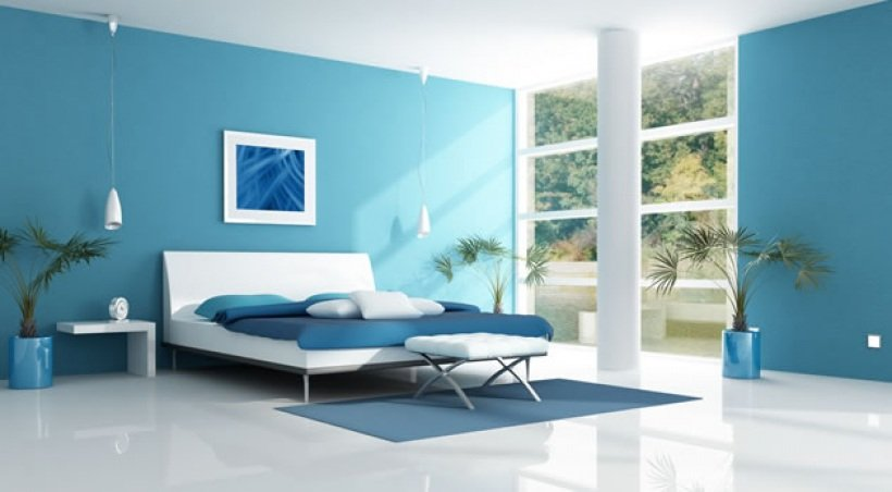Decoraci n de interiores en azul for Pintura pared azul grisaceo