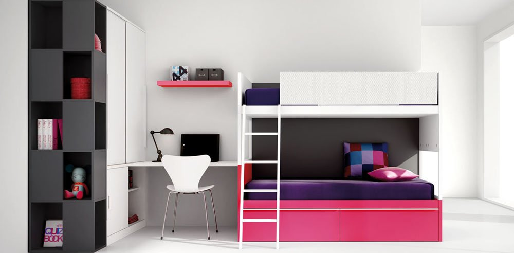 Habitaciones juveniles de la firma kiona for Habitaciones compactas