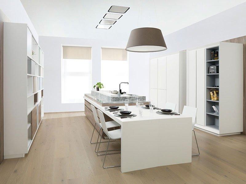 Muebles de cocina gama decor for Mesa cocina blanca