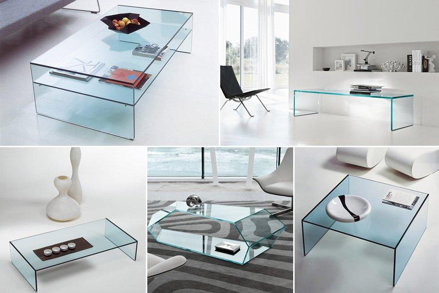 Mesas de centro de cristal modernas for Mesas de salon de cristal