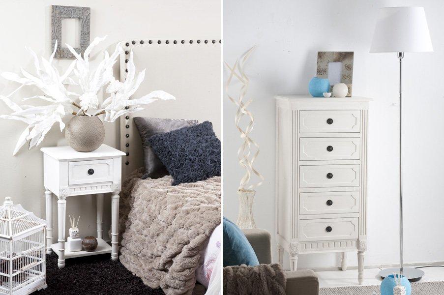 Muebles para un dormitorio rom ntico - Mesitas de noche clasicas ...