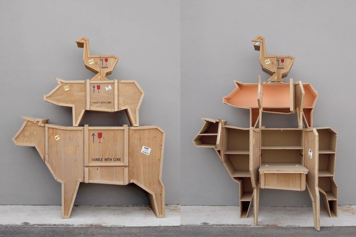 Muebles de madera con forma de animales - Muebles estanterias de madera ...