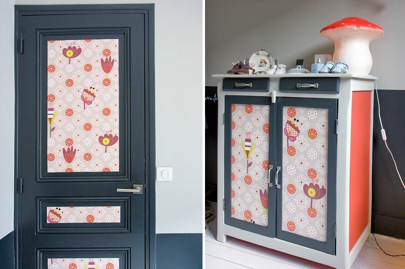Formas originales de utilizar el papel pintado - Puertas originales ...